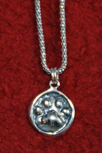 "1/2"" Sterling Silver Paw Print Pendant on 16"" Sterling 'Popcorn' Chain - Click to Enlarge"