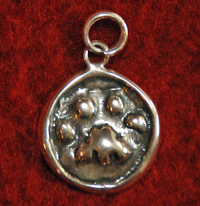 "1/2"" Sterling Silver Paw Print Pendant - Click to Enlarge"